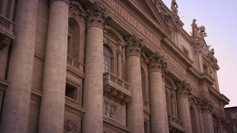 Low Angle Footage Of The Second Story Of St Peter's Facade stock footage
