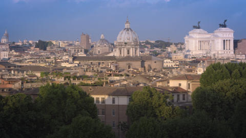 Pan Of Roman Landmarks On The East Bank Of The Tiber stock footage