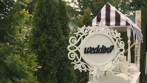 Wedding Pointer Sign At Ceremony stock footage