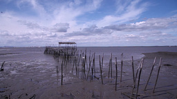 Old Abandoned Wooden Fishing Port With Low Tide, Slider Shot stock footage