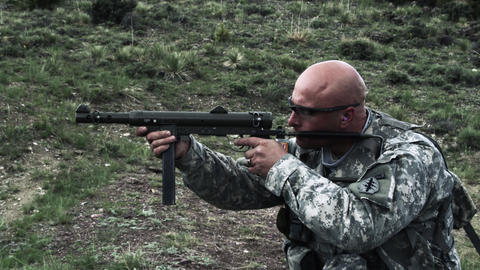 Soldier Shooting An MP40 stock footage