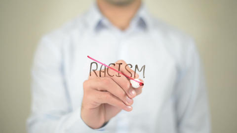 No Racism, Man Writing On Transparent Screen stock footage