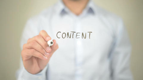 Content Marketing, Man Writing On Transparent Screen stock footage