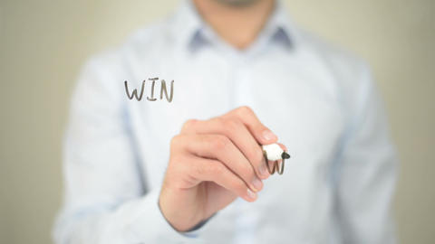 Win Win Strategy, Man Writing On Transparent Screen stock footage