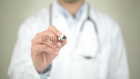 Healthy Lifestyle, Doctor Writing On Transparent Screen stock footage