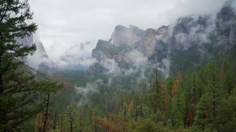 View of stormy looking Yosemite Valley Footage