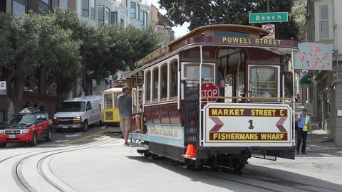 Trolley Car Takes A Bunch Of Passengers Around San Francisco stock footage