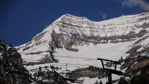 Static shot of ski lift cables at Mt. Timpanogos, UT Footage