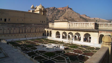 Interior garden of Amer or Amber fort Footage