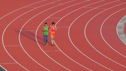 Cambodian athletes running relaxed in olympic stadium,Phnom Penh,Cambodia Footage
