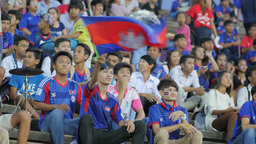 Boy With Cambodian Flag Waits Start International Match,Phnom Penh,Cambodia stock footage
