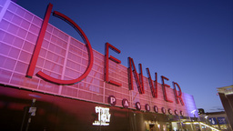 Static View Of The Denver Pavilions Building As The Sign Changes Colors stock footage