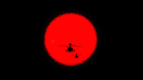 Apache Helicopter Silhouettes And Sun stock footage