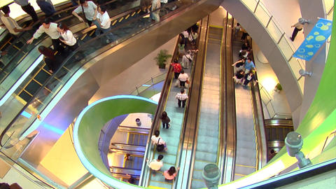Escalators In Singapore Shopping Centre Footage