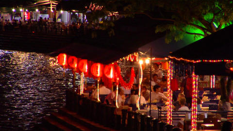 Boat Quay Restaurants stock footage