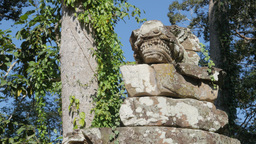 Statue at eastern gate of Angkor Thom,Siem Reap,Cambodia Footage