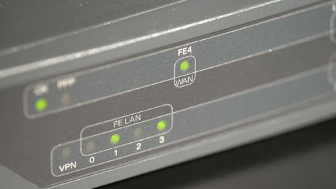 Port Leds On A Network Router stock footage