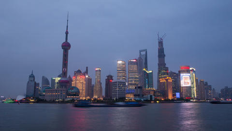 Time Lapse Of Boats Floating By With Towers In The Back In Shanghai China, At Su stock footage