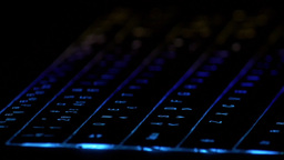 Laptop Computer Keyboard Lights - Technology Hacking Gaming Data Cyber Security stock footage