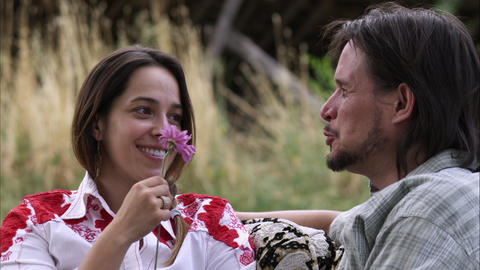 Close-up Tracking Shot Of Young Woman Receiving A Purple Flower From A Man stock footage