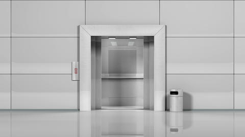 Office Building Elevator Opens And Closes Doors stock footage
