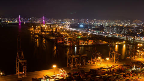 Container Terminal, Night View 4K Timelapse, Busan In South Korea stock footage