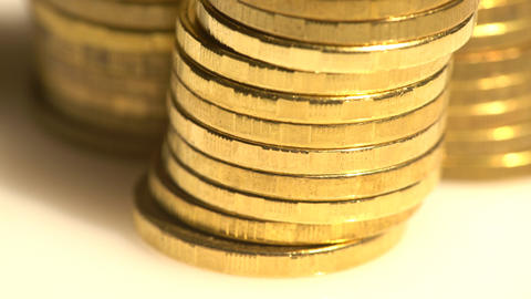 Closeup On Golden Coin Piles stock footage