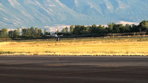 Shot Of An Airplane Landing At The Airport In Utah stock footage