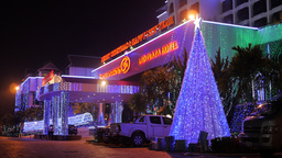 Christmas Decoration At Hotel,Vientiane,Laos stock footage