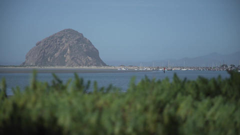 A view of Morro Bay and Morro Rock Footage