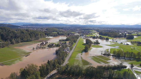 Aerial - Flooded Landscape. Natural Disaster In Ljubljana, Slovenia stock footage