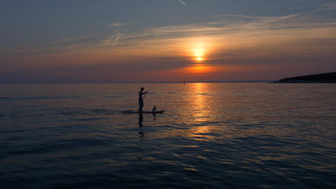 Aerial - Silhouettes Of A Man And A Dog On SUP Board At Sunset stock footage