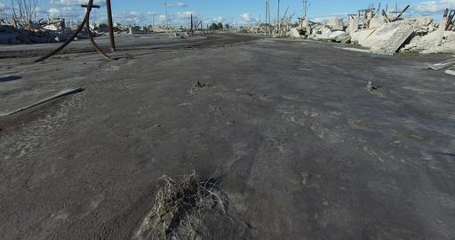 Quickly, Fast Scene Of Mud Streets Of Destroyed City Because Of Natural Hazard.  stock footage