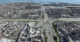 Aerial Drone Scene Of Destroyed, Demolished, City, Neighborhood, Camera Flying S stock footage