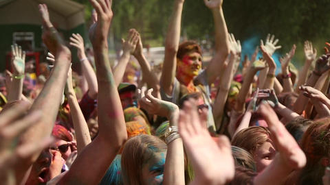 The Festival Of Colors, People Throw Paints stock footage