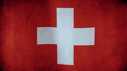 Flag Of Switzerland Waving In The Wind - Highly Detailed Fabric Texture - Seamle stock footage
