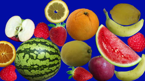 Fruits Appearing On Background Blue Screen stock footage