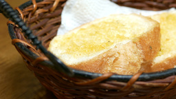 Bread In Basket For Lunch stock footage