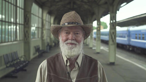 Smiling Old Man In Hat stock footage