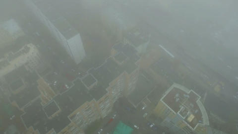 Helicopter Flying Through Clouds Over Moscow City Center stock footage