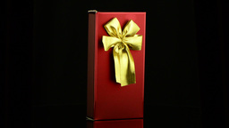 Red Box With Gold Bow stock footage