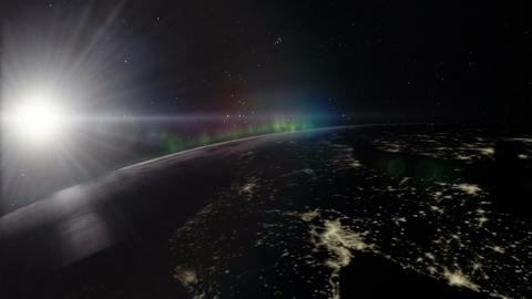 Planet Earth Night Timelapse With Closeup Of Northern Lights stock footage