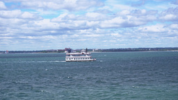 A Historic Paddle Boat Carries Tourists On Boston Harbor stock footage