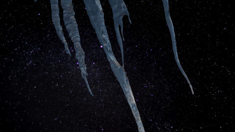 Timelapse - Icicles With A Blurry Starry Night In The Background stock footage