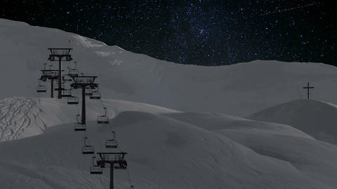 Timelapse - Stationary ski lift at night Footage