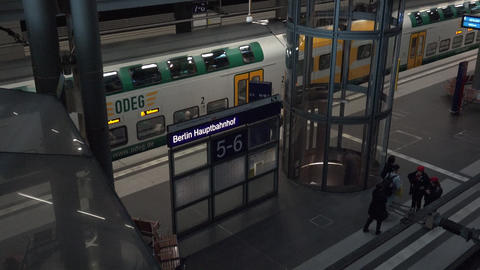 ULTRA HD 4k,real Time View Of Trains Arriving And Departing At The Berlin stock footage