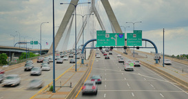 Timelapse View Of Traffic On The Leonard P. Zakim Bunker Hill Memorial Bridge In stock footage