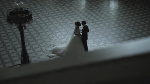 Bride And Groom In Interior Of Old Building stock footage