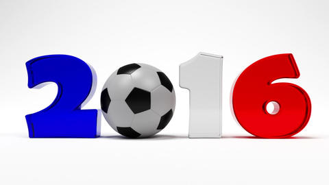 Cartoon Digits And Soccer Ball Assemble In Logo Of Euro 2016 France Football Cha stock footage
