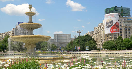 Union Square Fountain And House Of The People Or Parliament Palace In Bucharest stock footage